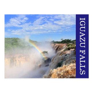 iguazu falls rainbow postcard