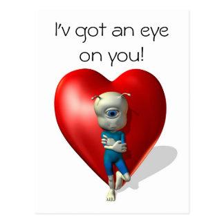I'h got an eye on you postcard