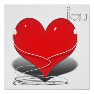 """iHeart Red Heart w/Text """"I ♥ U"""" Poster"""