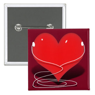 iHeart - Red Heart With Ear Buds Button