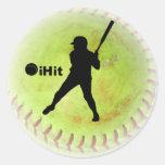 iHit Fastpitch Softball Classic Round Sticker