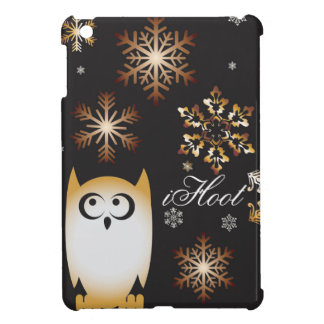 iHoot Owl Lovers Punny Holiday Owl in Gold & Black Case For The iPad Mini