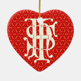 IHS Monogram with Sacred Heart of Jesus Ornament
