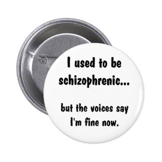II used to be schizophrenic... Pinback Button