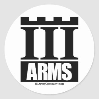 III Arms large round sticker - 6 per sheet