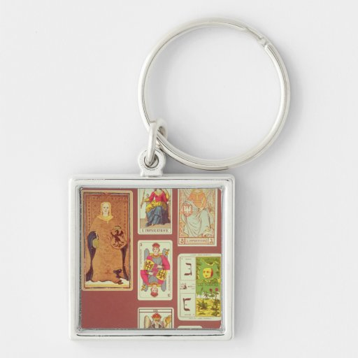 III The Empress Silver-Colored Square Keychain