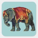 iIustração viejo del elefante del circo Calcomanias Cuadradas