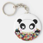 Ijimekko la panda - cráneos del azúcar llavero redondo tipo pin