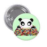 Ijimekko la panda - cráneos del azúcar pin redondo de 1 pulgada