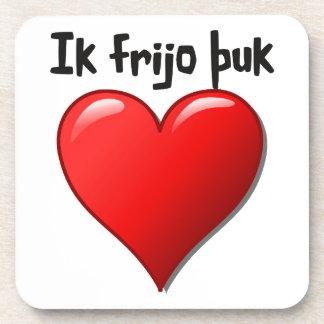 Ik frijo þuk - I love you in Gothic Beverage Coasters