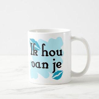 Ik hou van je - holandés - te amo taza básica blanca