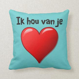 Ik hou van je - I love you in Dutch Throw Pillow