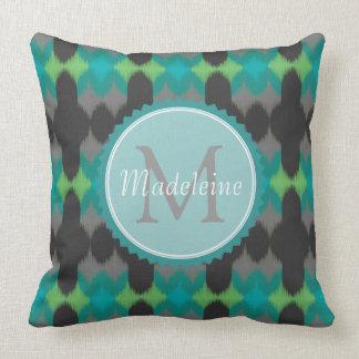 Ikat 001 Lime & Gray Throw Pillows