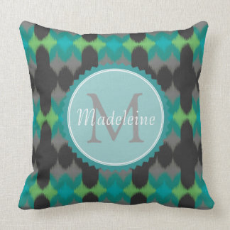 Ikat 001 Lime & Gray Throw Pillow
