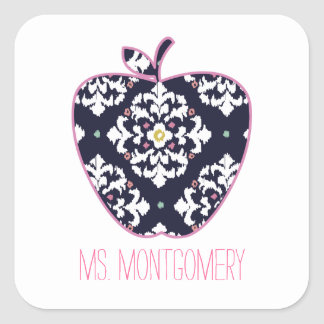 Ikat Apple Teacher Square Sticker