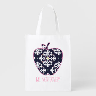 Ikat Apple Teacher Reusable Grocery Bag