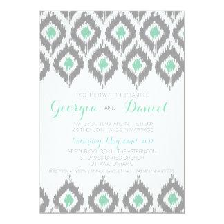 Ikat Aqua Wedding Invitation
