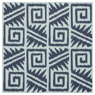 Aztec Themed Ikat Aztec - Dark Indigo Blue and Chambrey Fabric