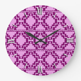 Ikat Aztec Pattern - Amethyst Purple and Violet Large Clock
