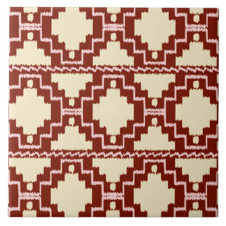 Ikat Aztec Pattern - Beige, Burgundy and Pink Ceramic Tile