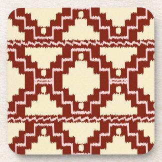 Ikat Aztec Pattern - Beige, Burgundy and Pink Drink Coaster