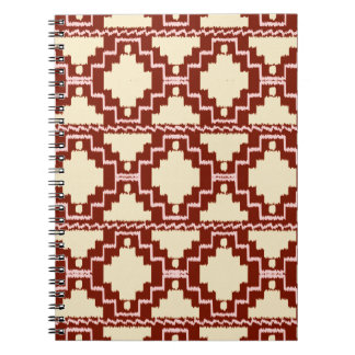 Ikat Aztec Pattern - Beige, Burgundy and Pink Spiral Note Book