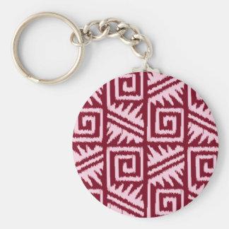 Ikat Aztec Pattern - Burgundy and Pink Basic Round Button Keychain