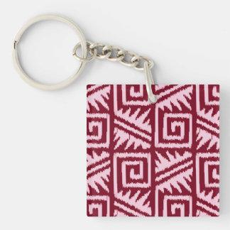 Ikat Aztec Pattern - Burgundy and Pink Keychain
