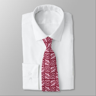 Ikat Aztec Pattern - Burgundy and Pink Tie
