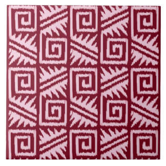 Ikat Aztec Pattern - Burgundy and Pink Tile