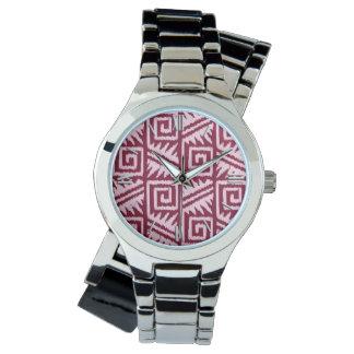 Ikat Aztec Pattern - Burgundy and Pink Wristwatch