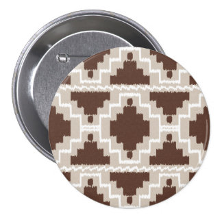 Ikat Aztec Pattern - Chocolate Brown and Taupe Button