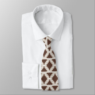 Ikat Aztec Pattern - Chocolate Brown and Taupe Tie