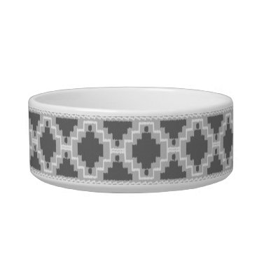 Aztec Themed Ikat Aztec Pattern - Dark and light Grey / Gray Bowl