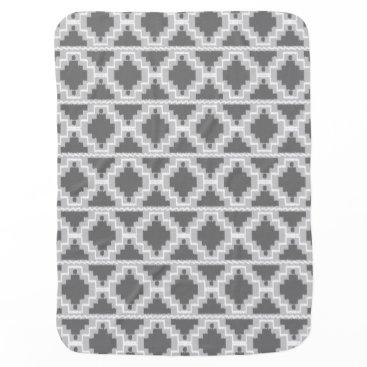 Aztec Themed Ikat Aztec Pattern - Dark and light Grey / Gray Receiving Blanket