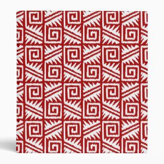 Ikat Aztec Pattern - Dark Red and White 3 Ring Binder