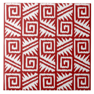 Ikat Aztec Pattern - Dark Red and White Ceramic Tile