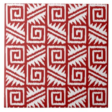 Aztec Themed Ikat Aztec Pattern - Dark Red and White Ceramic Tile