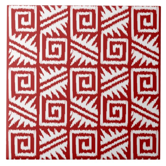 Ikat Aztec Pattern Dark Red and White Ceramic Tile Zazzle Gorgeous Aztec Pattern