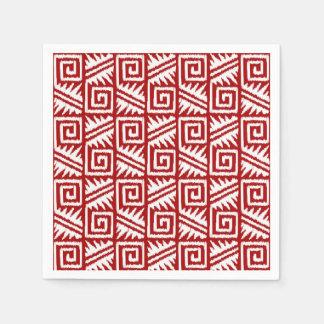 Ikat Aztec Pattern - Dark Red and White Paper Napkin