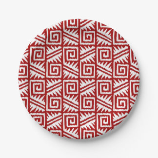 Ikat Aztec Pattern - Dark Red and White Paper Plate
