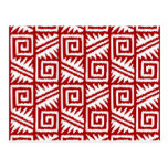 Ikat Aztec Pattern - Dark Red and White Postcard