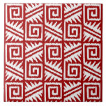 Ikat Aztec Pattern - Dark Red and White Large Square Tile