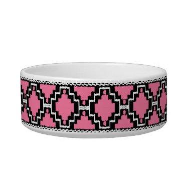 Aztec Themed Ikat Aztec Pattern - Fuchsia Pink, Black and White Bowl