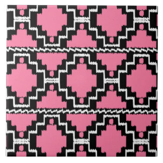 Ikat Aztec Pattern - Fuchsia Pink, Black and White Tile