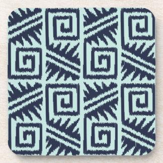 Ikat Aztec Pattern - Indigo and Light Blue Beverage Coaster