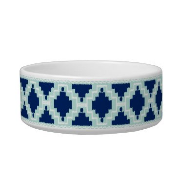 Aztec Themed Ikat Aztec Pattern - Indigo and light blue Bowl