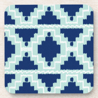 Ikat Aztec Pattern - Indigo and light blue Coaster