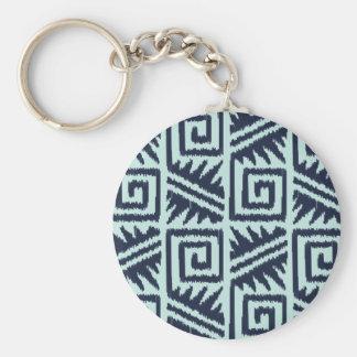 Ikat Aztec Pattern - Indigo and Light Blue Keychain