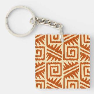 Ikat Aztec Pattern - Mandarin and Light Orange Keychain